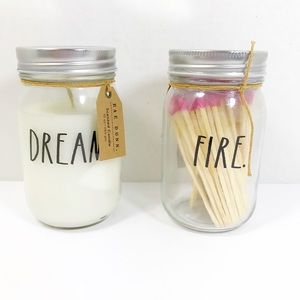 "Rae Dunn ""DREAM"" Soy Candle & ""Fire"" Matches 100ct"